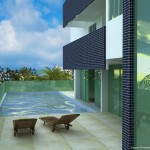 Vista da área externa com piscina